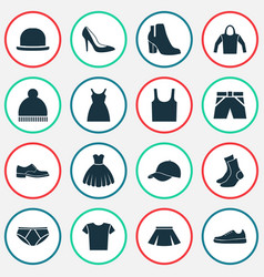 Garment icons set collection of panama sneakers vector