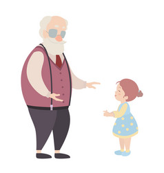 Grandfather and granddaughter cartoon characters vector