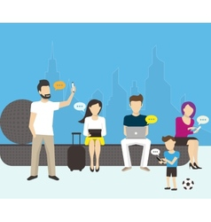 Group of people using electronics devices vector image