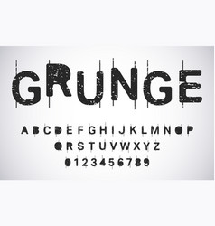 grunge alphabet template distressed typography vector image