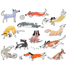 Hand drawn doodle cute dogs set with plaing pets vector
