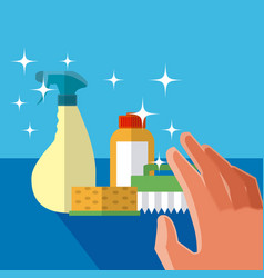 Hand grabbing cleaning products vector