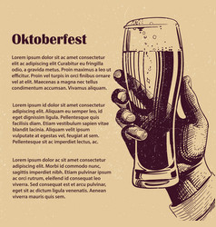 hand with glass of beer oktoberfest banner vector image