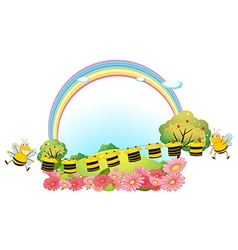 Hanging clothes with bees vector image vector image