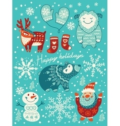 Happy holidays card Christmas set with cartoon vector image