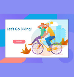 happy young couple going for a bike ride on a vector image