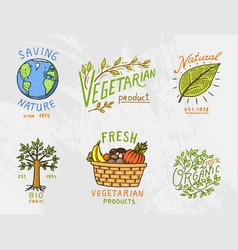 healthy organic food logos set or labels and vector image