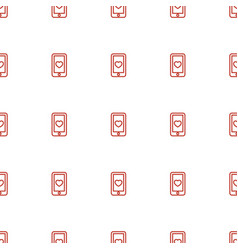 heart mobile icon pattern seamless white vector image