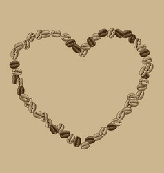 heart shaped frame coffee beans vector image