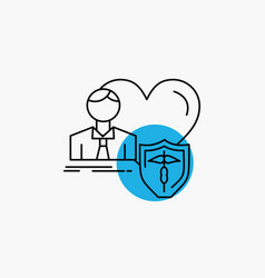 insurance family home protect heart line icon vector image