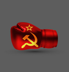 isolated boxing glove ussr flag realistic 3d vector image