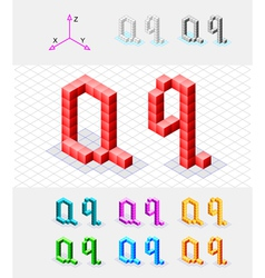 Isometric font from the cubes Letter Q vector