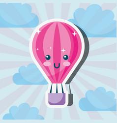 kawaii hot air balloon cartoon weather vector image