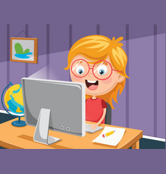 Kid with computer vector