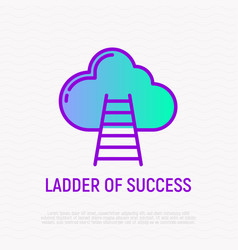 Ladder success thin line icon vector