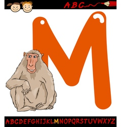 letter m for macaque cartoon vector image