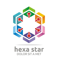 Logo Hexa House Arrow Design Icon Symbol Star vector image