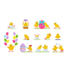 lovely chickens have fun celebrate easter vector image