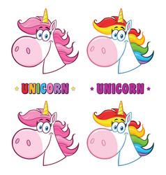 magic unicorn head collection vector image