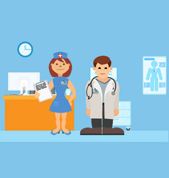 Medical staff stands in hospital room vector