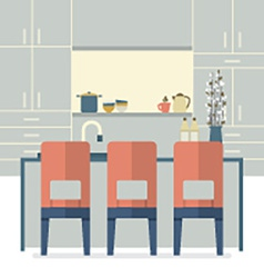 Modern Flat Design Kitchen Interior vector image