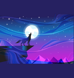 Night landscape with howling wolf at moon vector