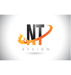 nt n t letter logo with fire flames design and vector image