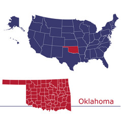 oklahoma counties with usa map vector image
