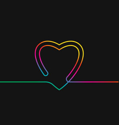one line drawing heart rainbow colors on black vector image