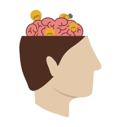 open head with brain vector image