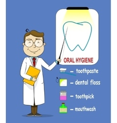 Oral hygiene banners with cute cartoon doctor vector