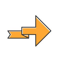 Orange arrow with folding line color icon right vector
