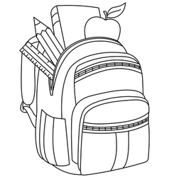 Outlined school backpack vector