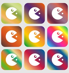 Pac man icon sign Nine buttons with bright vector