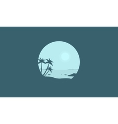 Palm on the beach silhouettes vector