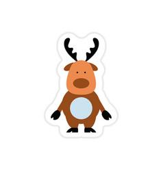 Paper sticker on white background santa reindeer vector