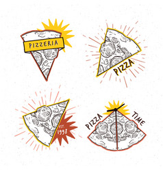 Pizzeria logotypes set collection different vector