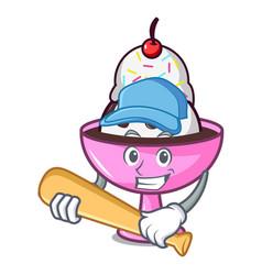 playing baseball ice cream sundae character vector image