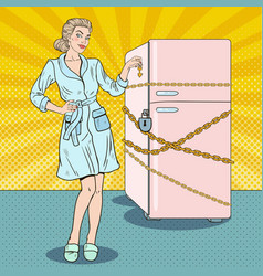 pop art woman on diet with refrigerator lock vector image