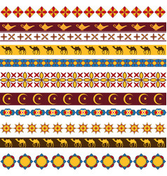 ramadan kareem seamless pattern with borders vector image