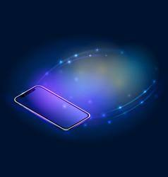 realistic isometric smartphone concept digital vector image