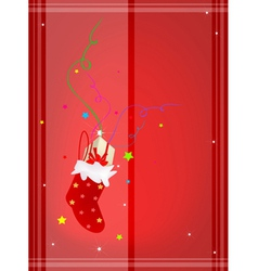 Red Background of Gift Boxes in Christmas Stocking vector image