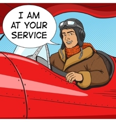 Retro pilot in vintage plane pop art style vector image
