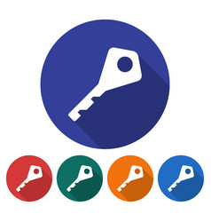 round icon of key flat style with long shadow in vector image