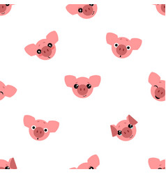 seamless pattern of cartoon pig on white vector image