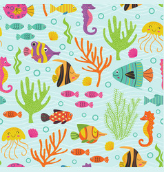 seamless pattern under sea with marine animals vector image