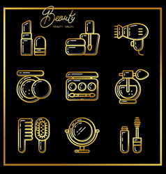 Set of beauty cosmetics icons drawn in gold lines vector