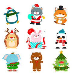 Set of cute christmas animal characters vector