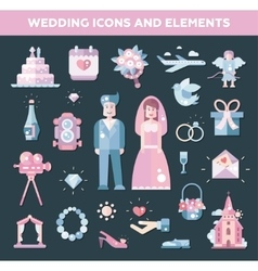 Set of flat design wedding marriage icons and vector image