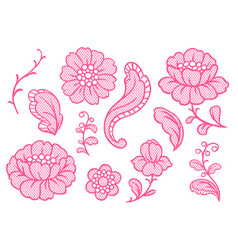 set of lace flowers vintage textile vector image